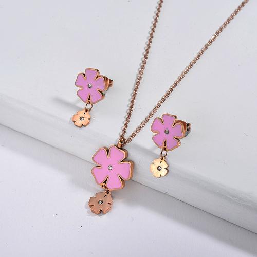 Conjuntos de joyas de flores chapadas en oro rosa de acero inoxidable