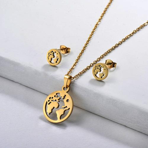 Conjunto de collar de oro estilo moda