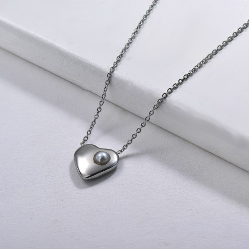 Heart-shaped personality fashion style silver necklace