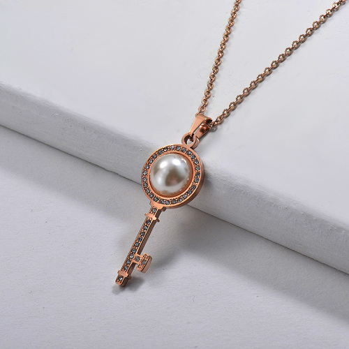 Style de mode simple avec collier en or rose perlé