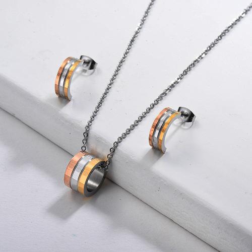 Ensembles de bijoux triple couleur de style russe en acier inoxydable