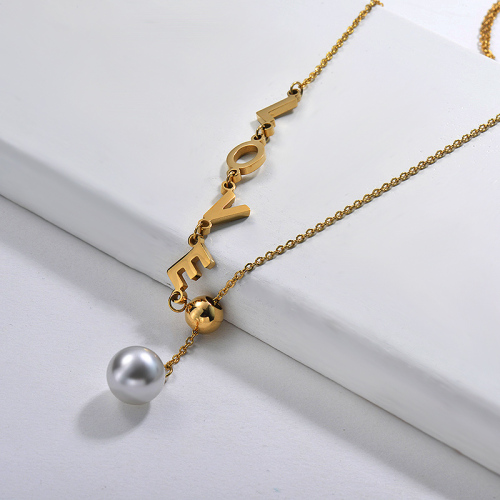 Elegant Adjustable Gold Plated LOVE Charm With Freshwater Pearl Necklace