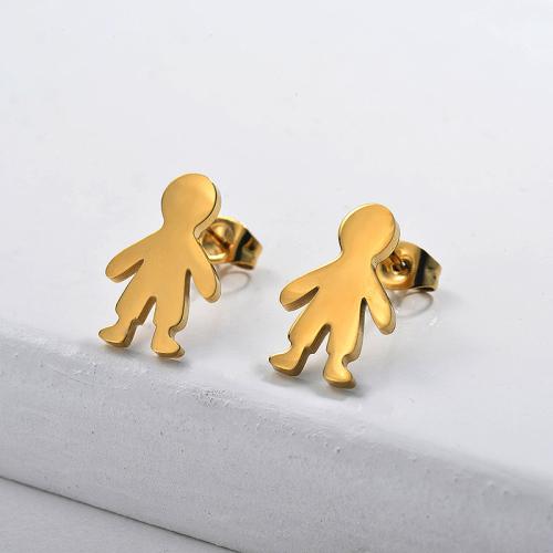 Joyas chapadas en oro Diseño de personalidad Pendientes de niño de estilo lindo de acero inoxidable