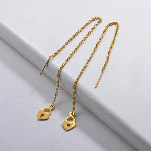 Rose Gold Plated Jewelry Siemple Design Stainless Steel Lock Drop Earrings