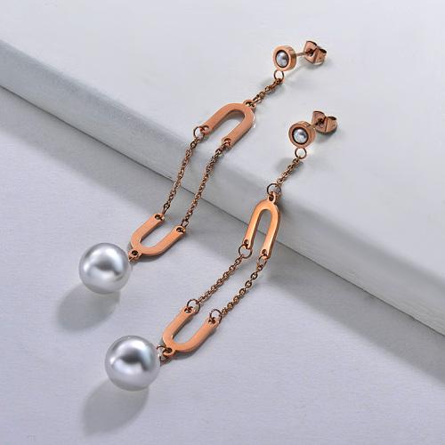 Pendientes Perlas de Acero Inoxidable -SSEGG143-9290