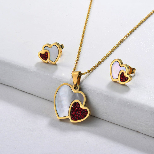 Red Crystal with Mother Pearl Heart Jewelry Sets