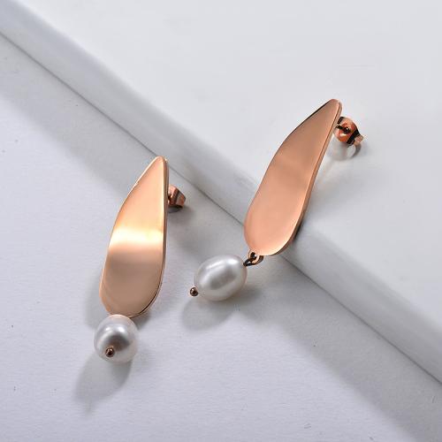 Pearl Earrings in Stainless Steel -SSEGG143-9125
