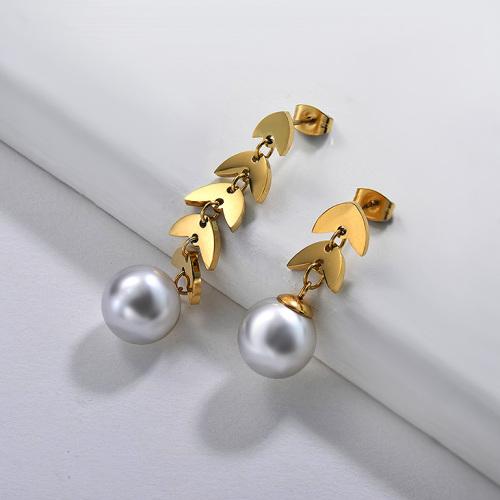 Pendientes Perlas de Acero Inoxidable -SSEGG143-9126