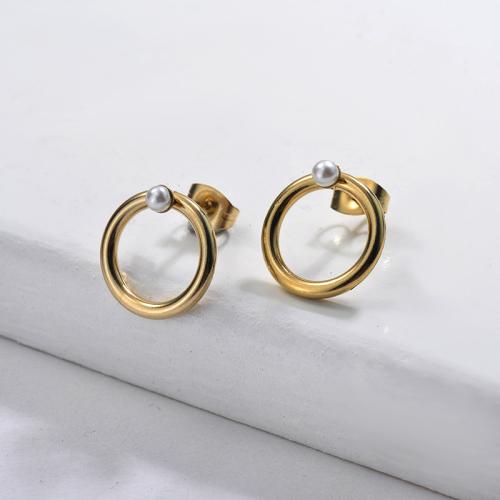 Pendientes Perlas de Acero Inoxidable -SSEGG143-9114