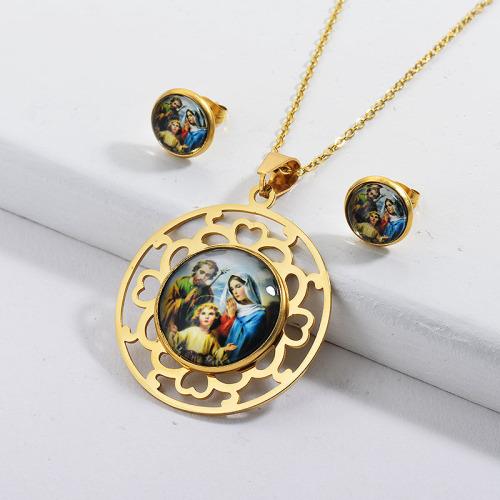 Conjunto de joyas de collar de religión familiar chapado en oro de acero inoxidable
