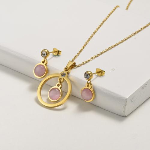 Conjuntos de joyas de cristal de ojo de gato dorado de acero inoxidable