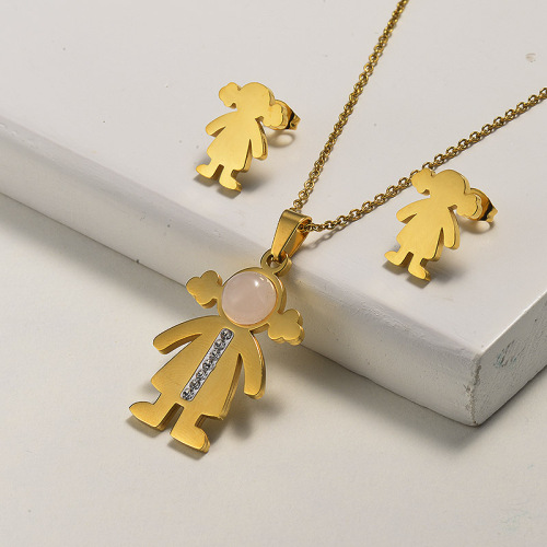 Conjuntos de joyas de collar de niña de cuarzo rosa de piedras preciosas