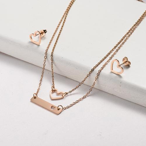 Sistemas de la joyería del collar de la curva del corazón chapados en oro rosa de acero inoxidable