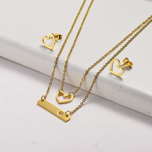 Conjunto de joyas de collar de curva de corazón de oro de acero inoxidable