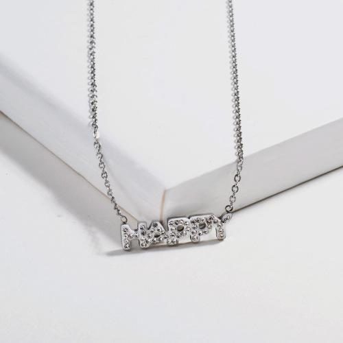 Collar de plata estilo alfabeto con diamantes de arcilla