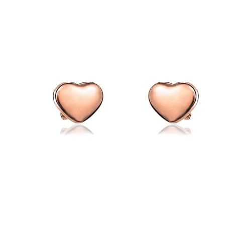 Pendientes de botón de corazón de acero inoxidable con diseño Siemple de joyería chapada en oro rosa