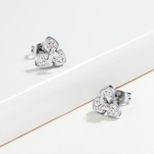 Joyas de acero inoxidable de plata Pendientes de trébol de diamantes de estilo simple
