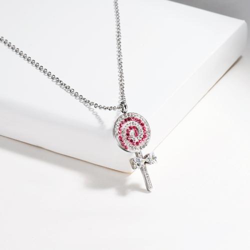 Collar de plata estilo diamante de arcilla de moda
