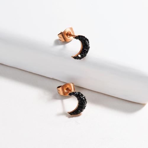 Pendientes de botón MOON de acero inoxidable con diseño Siemple de joyería chapada en oro rosa