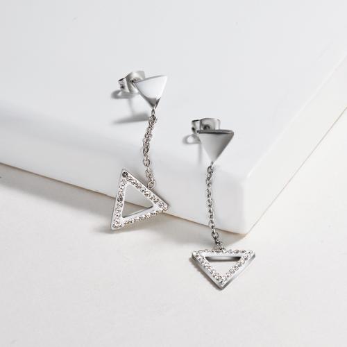 Pendientes de triángulo de personalidad de joyería de acero inoxidable plateado