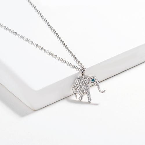 Collar de plata estilo diamante de arcilla elefante