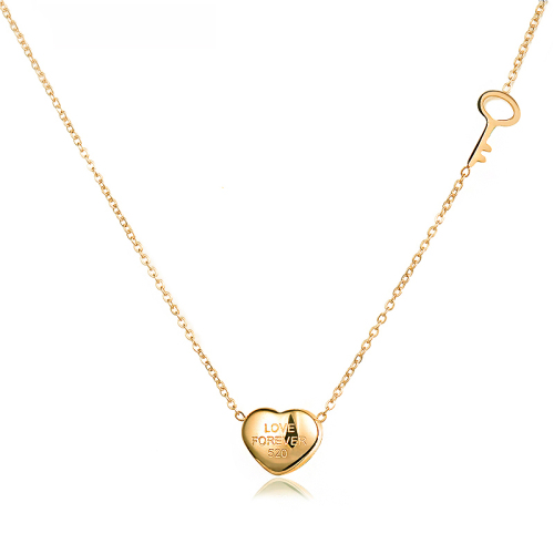 Fashion heart-shaped gold necklace