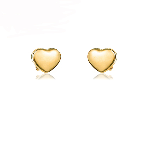 Pendientes de botón de corazón de acero inoxidable con diseño siemple de joyería chapada en oro de 18 quilates