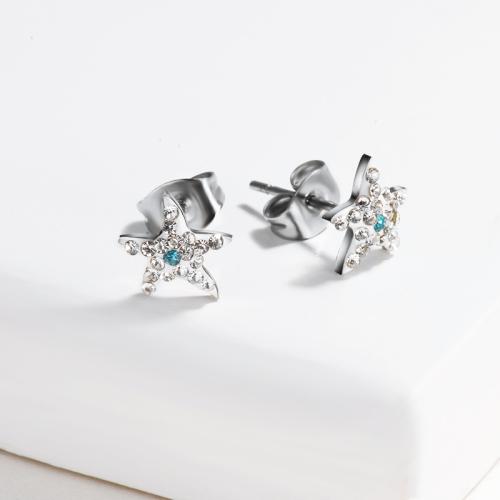 Silver Plated Stainless Steel Jewelry Diamond Star Earrings