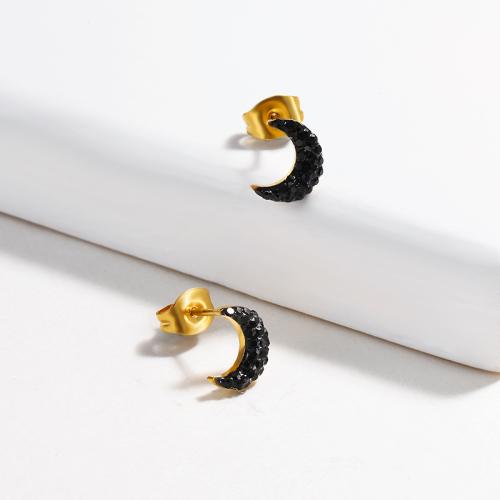 Diseño de joyería chapado en oro Pendientes de botón de luna de acero inoxidable de moda