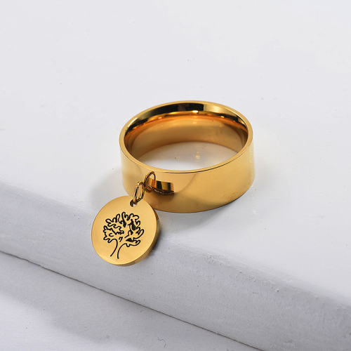 Gold Plated Wide Band Family Tree of Life Ring
