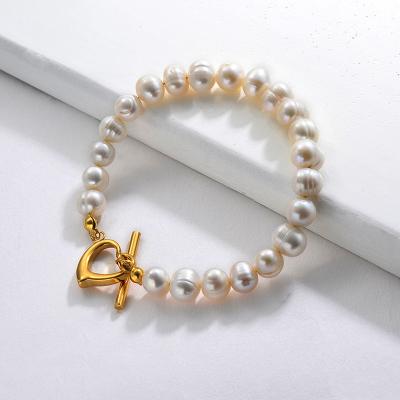 Corazón de pulsera de perlas de agua dulce real