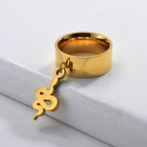 Gold Wide Band Snake Ring