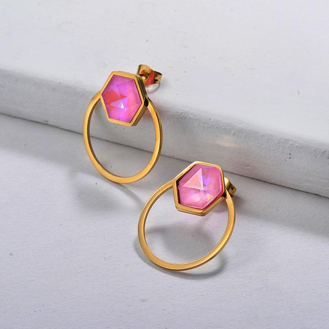 Pendiente de aro de cristal rosa fuerte