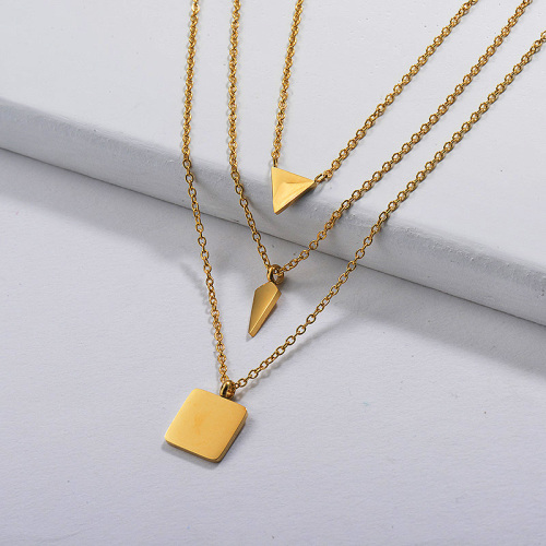 Gold Plated Dainty Multilayred Necklace002