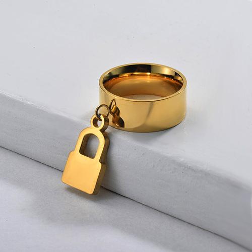 Bague de verrouillage large bande plaquée or