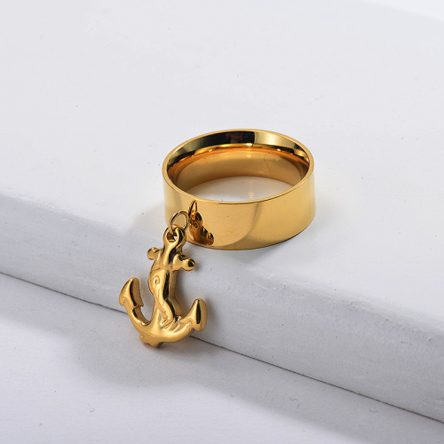 Gold Plated Wide Anchor Ring