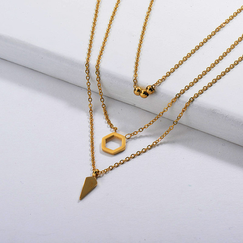 Stainless Steel Layered Necklace in Gold Plated