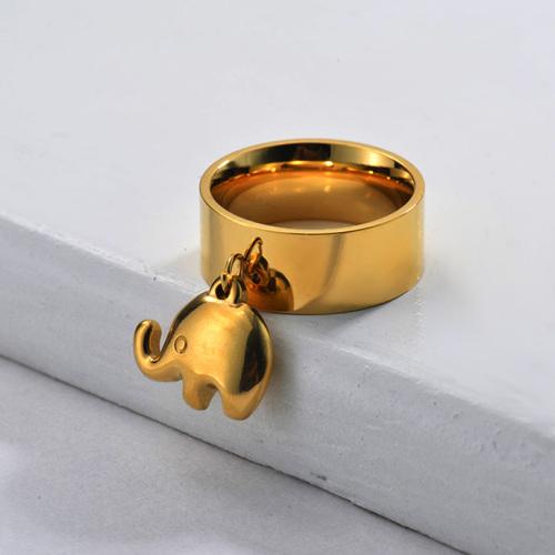 Bague éléphant à large bande plaquée or