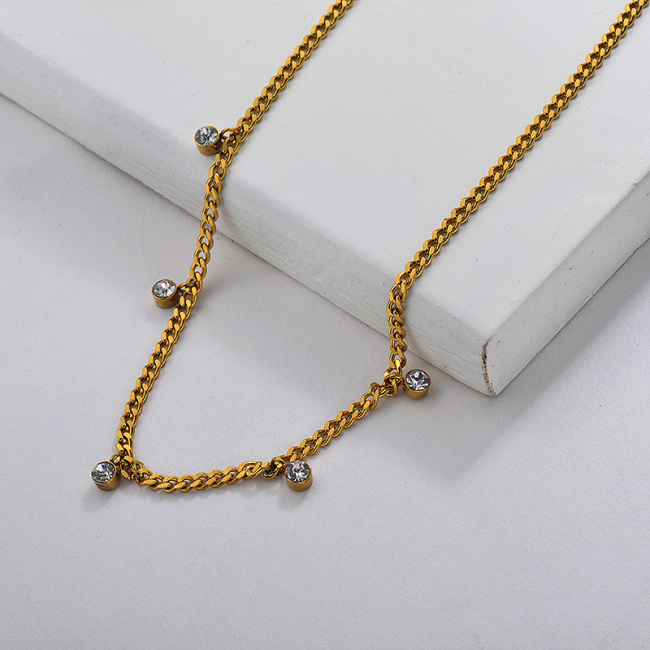 Mini Collar De Cadena De Cristal Chapado En Oro