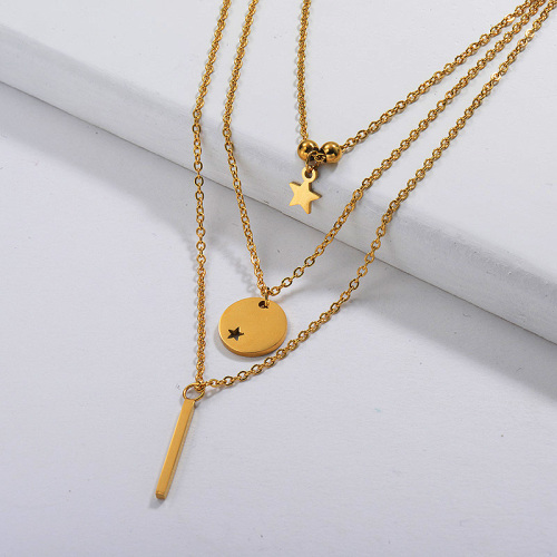 Gold Plated Dainty Multilayred Necklace004
