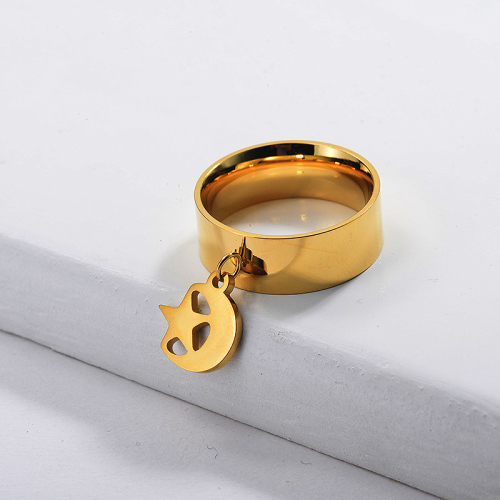 Stainless Steel Moon and Star Charm Ring