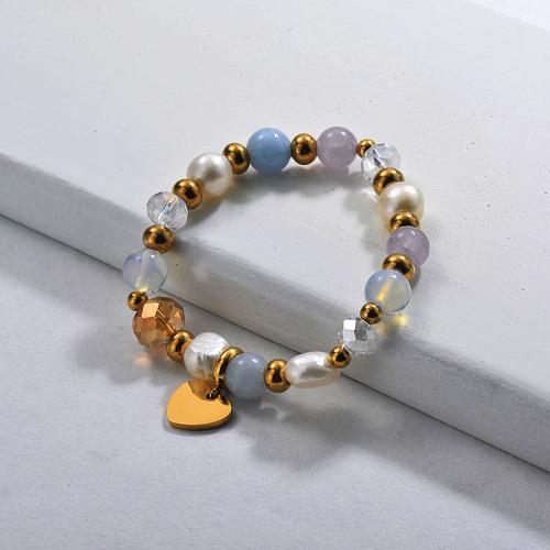 Fresh Water Pearl Charm Beaded Bracelets002