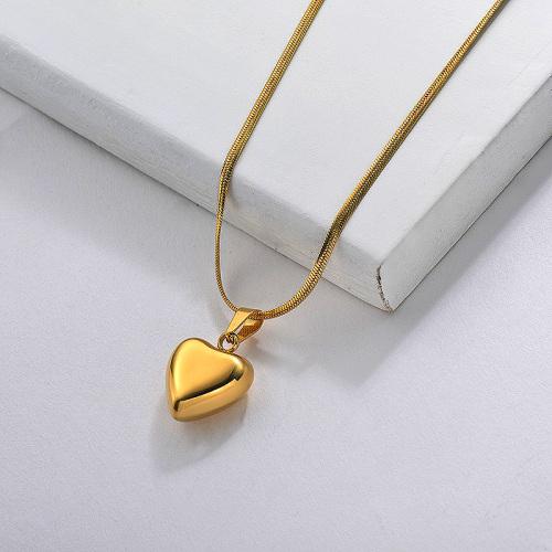 Collier à pendentif cœur en acier inoxydable