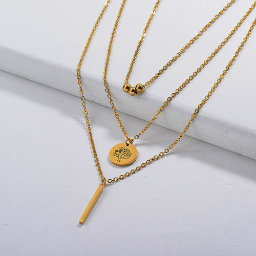 Gold Plated Dainty Multilayred Necklace006