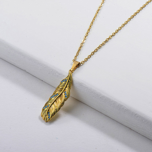 Gold Turquoise Feather Necklace