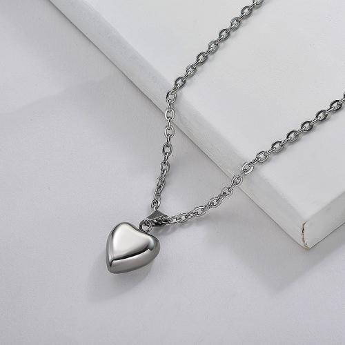 Collier à pendentif cœur plaqué argent