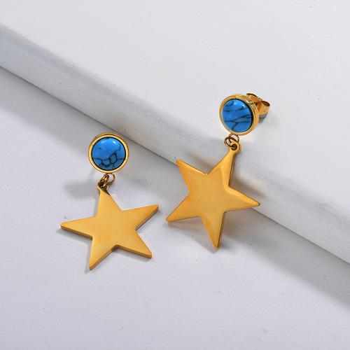 Boucle d'oreille étoile turquoise en plaqué or