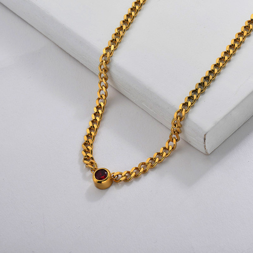 Zircon Charm Chain Necklace in Stainless Steel