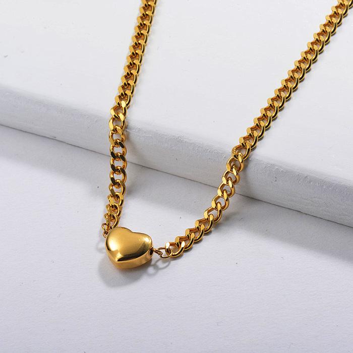Collier à breloques cœur tendance en plaqué or