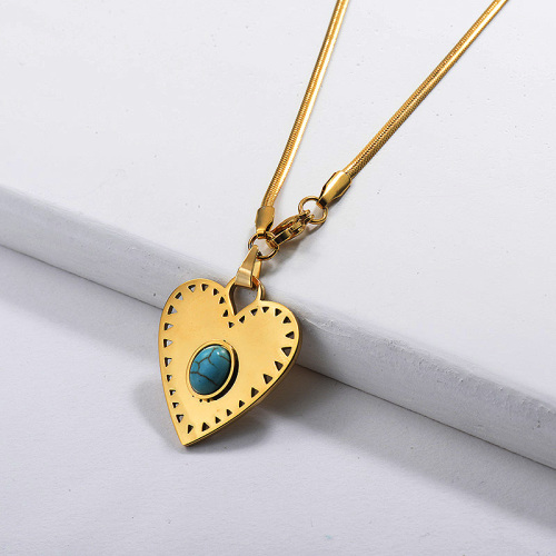 Stainless Steel Gold Turquoise Heart Necklace